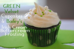 Green Velvet Cupcakes with Bailey's Irish Cream Buttercream Frosting