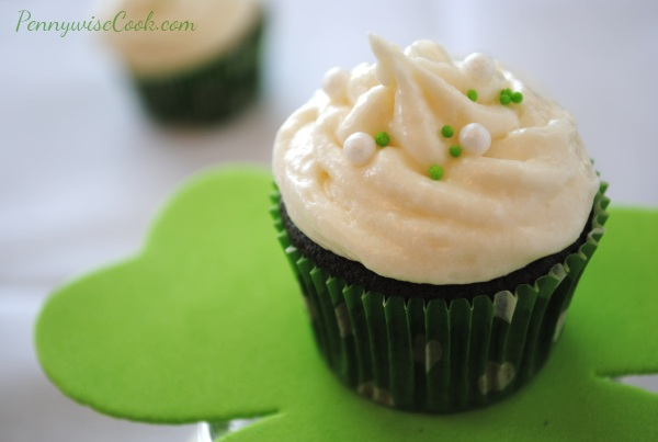 Green Velvet Cupcakes 2 Green Velvet Cupcakes with Irish Creme Buttercream Frosting