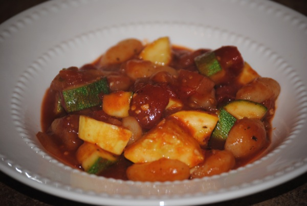 Zesty Squash and Zucchini Over Gnocchi
