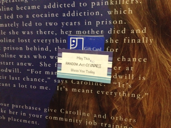 Goodwill Gift Card in Dressing Room A Day of Random Acts of Kindness