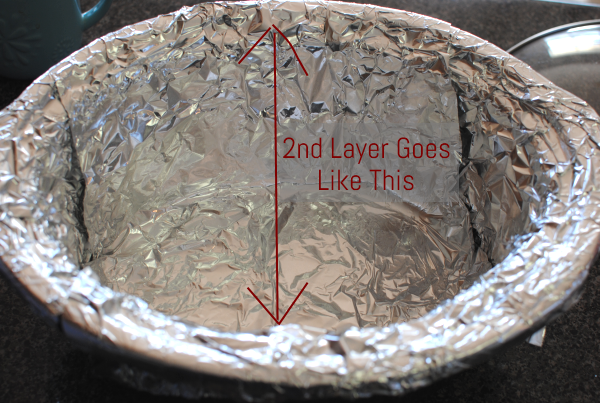 Second layer foil Slow Cooker Mexican Lasagna